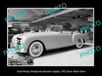 OLD LARGE HISTORIC PHOTO OF TURIN MOTOR SHOW 1952 NASH HEALEY ROADSTER DISPLAY 2
