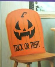 "Halloween Chair Cover Trick or Treat Orange 21"" x 20 "" set 4 Pumpkin USA Seller"