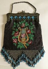 Beautiful Large Vintage Beaded Purse / Bag - Lyre , Roses - Silverplate Frame