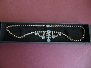 Vintage Art Deco Turquoise Blue & Clear Glass Paste Pendant Cocktail Necklace