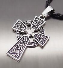 "Men Women Irish Celtic Knot CZ Cross Boy Pewter Pendant with 20"" Choker Necklace"