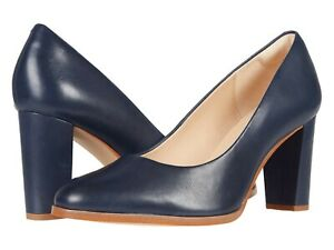 Women's Shoes Clarks KAYLIN CARA 2 Leather Work Pumps Block Heel 52876 NAVY