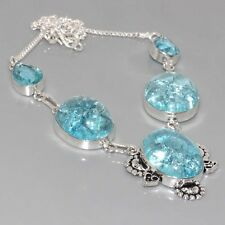 """G12295  Crack Crystal Quartz & 925 Silver Overlay Necklace 18"""" Jewelry"""