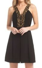 Shoshanna Penny Beaded V-Neck Dress black embellished saks fifth ave $495 XS 0