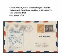 Canal Zone US First Flight Cover Cristobal to Miami 1929 Pan Am CZ Franking