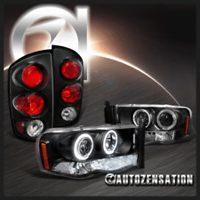2002-2005 Ram 1500 2500 3500 Black Halo LED Projector Headlights+Tail Lamp
