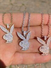 Hip Hop Playboy Bunny Pendant - Iced Diamond Real 925 Silver Gold Rose Necklace