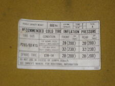 NISSAN 300ZX 2+2 VEHICLE RECOMMENDED TIRE INFLATION PRESSURE STICKER 1984-1989