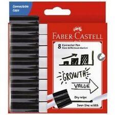 Faber-Castell Connector Pen Whiteboard Markers Bullet Black 8pk