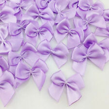 50pcs Purple  Mini Satin Ribbon Flowers Bows Gift Scrapbooking Wedding Decor