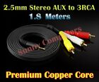 2.5mm AUX Male to 3RCA M/M Stereo Audio Adapter Cable Red Yellow White Plug AU