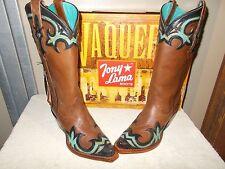 Tony Lama 100% Vaquero Cassidy  Brown/Teal Wingtip Cowboy Boots VF6016 New sz 6