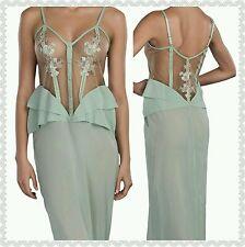 NWT $998 La Perla Lucia Camicia Notte Tulle Silk Long Nightgown Mint Green Small