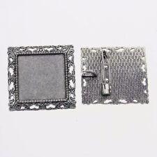 2pcs Tibetan silver color squared 25x25mm cabochon settings brooch design XA066