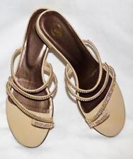 JOY handmade SWAROVSKY CRYSTAL diamante beige LEATHER SANDAL 9 flat heel shoe