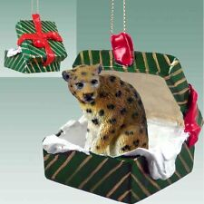 LEOPARD Green Gift Box Holiday Christmas ORNAMENT