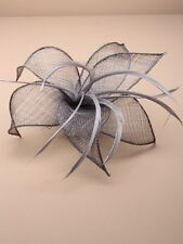 Silver Grey Mesh and Feather Fascinator Wedding Races Hair Clip Corsage Brooch