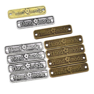 50/100pcs Letters Hand Made Tags Metal Labels Retro Sewing Tag Pendants Supplies