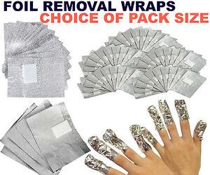 GEL POLISH FOIL REMOVER WRAPS NAIL FOR UV LED ART SOAK OFF ACRYLIC, PACK SIZE