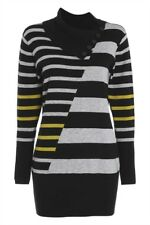 Roman Olive Colour Block Stripe Roll Neck Jumper Size UK 10 Dh088 DD 18