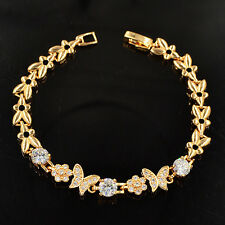 NEW Women Cute Gold Plated White Butterfly CZ Charm Bracelet Jewelry