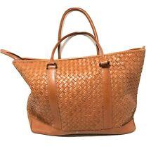 LL Bean Womens Leather Woven Hobo Bag Caramel Brown