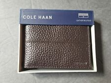 COLE HAAN BI FOLD LEATHER WALLET  BROWN