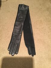 Lauren Ralph Lauren Long Black opera  Leather  & knit Gloves Size S M7