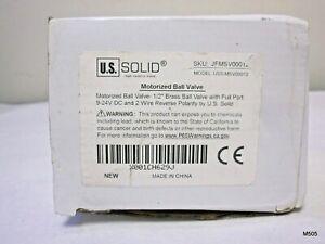 "U.S. Solid 1/2"" Motorized Ball Valve, Brass, DC 9-24V, 2 Wire Reverse Polarity"