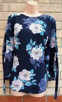 FLORENCE & FRED BLUE PINK FLORAL BELTED LONG SLEEVE SUMMER BLOUSE TOP SHIRT 22