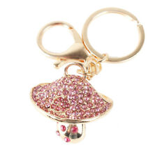 Mushroom Pink Lovely Charm Pendent Crystal Purse Bag Keyring Key Chain Cute Gift