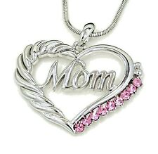 NWT MOM MOTHER HEART LOVE CHARM PENDANT PINK CRYSTAL SILVER NECKLACE