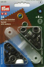 Prym Eyelets With Washers Black 8mm Wide