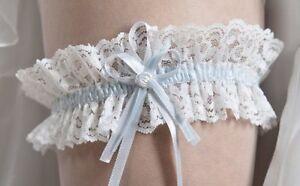Strumpfband   Spitze weiss / creme ivory / blau Hochzeit Braut  NEU!
