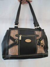 B.O.C. Black Faux Pebbled Leather & Straw Vegan Purse Shoulder Handbag