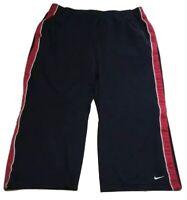 NIKE DRI-FIT Women's Size M 8-10 Activewaer Capri Pants Drawstring Blue Striped