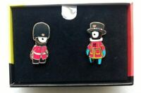 LONDON 2012 OLYMPICS 2 PIN BADGE SET WENLOCK & MANDEVILLE GUARD BEEFEATER LARGE
