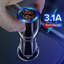 Car Phone Charger 18W 3.1A Dual USB Fast Charging QC iPhone Samsung Xiaomi Disc