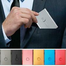 Business Card Holder Hand Push Type Credit Cards Storage Case Box Metal Slim