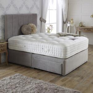 Plush Velvet Upholstered Divan Storage Bed Drawers Frame Fabric Base & Headboard