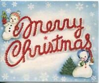 VINTAGE CHRISTMAS SNOWMAN SNOW GIRL PINE TREE SNOWFLAKES FLOCKED GREETING CARD