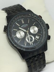 Rotary Gents Watch GB03778/04 Multi Dial Watch Black Bracelet With Date Function