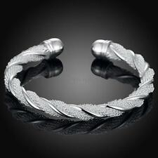 Pretty New Sterling Silver Plated Twisted Rope Mesh Cuff Bangle Bracelet