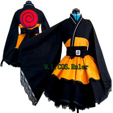 Popular Anime NARUTO Kimono Princess Maid Cosplay Costume Party Dress  Full Set