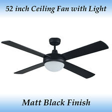 Genesis 52 inch Matt Black Ceiling Fan with Light