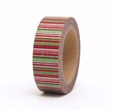 Washi Tape Christmas Red Green Stripe15mm x 10m