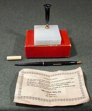 Larick Mfg. Co Marble Desk Fountain Pen Holder With Fountain Pen Guarantee EUC