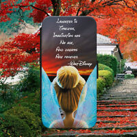 TINKERBELL/LAUGHTER QUOTE/FLIP WALLET PHONE CASE COVER FOR IPHONE/SAMSUNG/HUAWEI