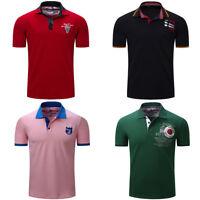 Fashion Men's Embroidery Polo Shirt Short Sleeve Casual Plain T Shirt Cotton Top