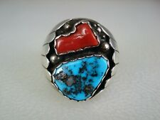 SUPERB OLD Yazzie NAVAJO STERLING SILVER & TURQUOISE RED CORAL RING sz 12